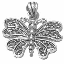 Sterling silver butterfly filigree pendant 28 mm 4 gram