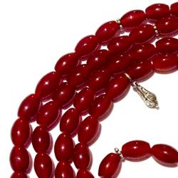 Agate Islamic Prayer Beads 99 Tasbih 9 mm oval w/silver