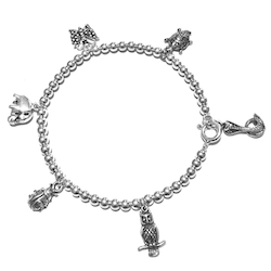 Full sterling silver beaded thematic charm bracelet Land Animals