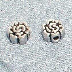 Lot of 2 Turkish Sterling Silver Bead Flat 6 mm 1.6 gram