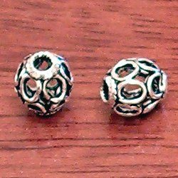 Lot of 2 Turkish Sterling Silver Bead 6 mm 1.2 gram