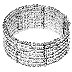 Turkish Full Sterling Silver Beaded Cuff Bracelet 52 gram