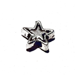 Lot of 3 Turkish Sterling Silver Star Bead Charm 7 mm 1.2 gram