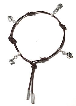 Turkish Sterling Silver Tiny Charm Bracelet on Leather Love