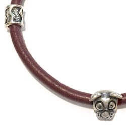 Turkish Sterling Silver Thematic Charm Bracelet on Leather Dog