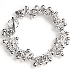 Turkish Full Sterling Silver Beaded Charm Bracelet 21.5 gram