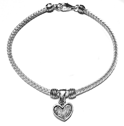 Sterling Silver Thematic Charm Bracelet Heart 8.6 gram