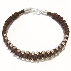 Turkish Macrame Braided Leather Bracelet Sterling Silver Beads