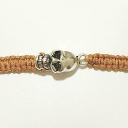 Macrame Braided Bracelet with Sterling Silver Charm Skull