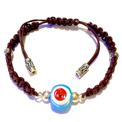 Turkish Macrame Leather Bracelet With Sterling Silver and Blue Evil Eye