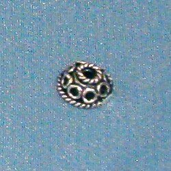 Lot of 2 Turkish Sterling Silver Bead Caps 5 mm 1 gram