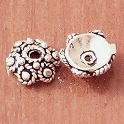 Lot of 2 Turkish Sterling Silver Bead Caps 6 mm 1.6 gram