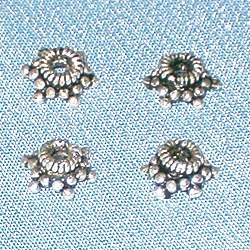 Lot of 3 Turkish Sterling Silver Bead Caps 6 mm 1 gram