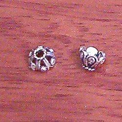 Lot of 4 Turkish Sterling Silver Bead Cap 7 mm 1.2 gram