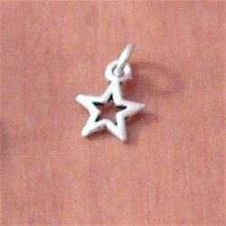 Lot of 2 Turkish Sterling Silver Charm Star 12 mm 1.2 gram