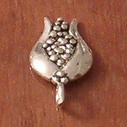 Lot of 2 Turkish Sterling Silver Charm Tulip 16 mm 1.2 gram