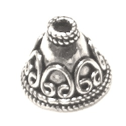 Turkish Sterling Silver Bead Cap Cone 12 mm 2.1 gram