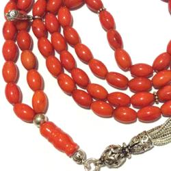Islamic prayer beads 99 tasbih red coral sterling silver 6x9 mm