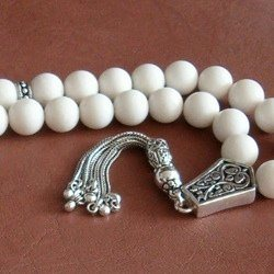 Turkish White Coral Islamic Prayer Beads Tasbih w/silver