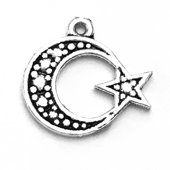 Sterling Silver Charm Pendant Crescent Star 13 mm 0.7 gram