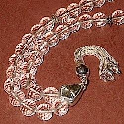 Turkish Cut Najaf Quartz Islamic Prayer Beads Tasbih w/silver all faceted