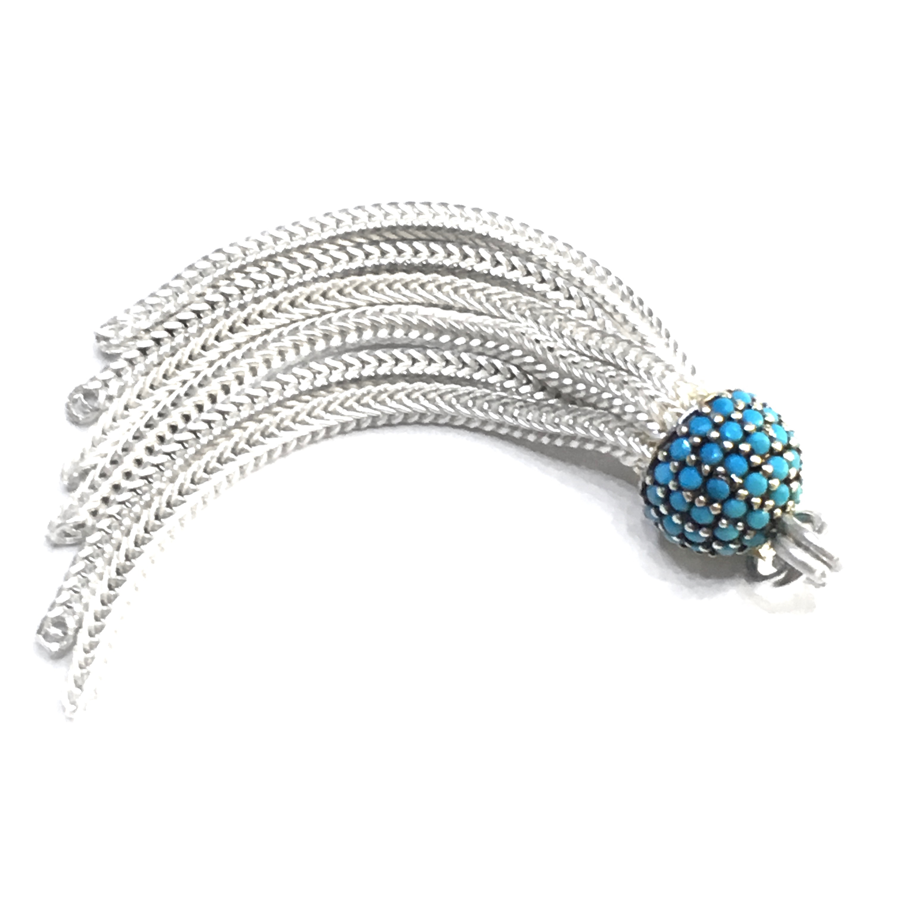 Turkish Sterling Silver CZ Cubic Zirconia Studded Tassel 45 mm