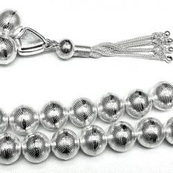 Turkish Full Sterling Silver Islamic Prayer Beads Tasbih 12 mm 57 gram