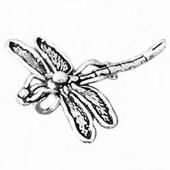 Turkish Sterling Silver Charm Pendant Dragonfly 34 mm 3.6 gram