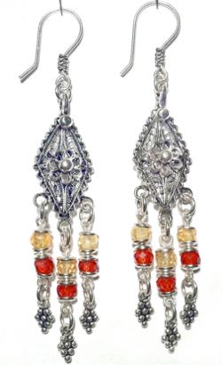 Sterling Silver Cubic Zirconia Chandelier Earrings 9.6 gr 7 cm