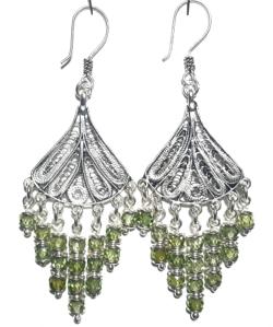 Sterling Silver Cubic Zirconia Chandelier Earrings 17 gr 7 cm