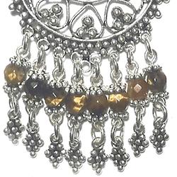 Sterling Silver Tiger Eye Chandelier Earrings 21 gr 8 cm