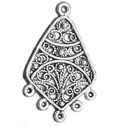 Pair of Turkish Sterling Silver Blank Earrings 33 mm 4.4 gram