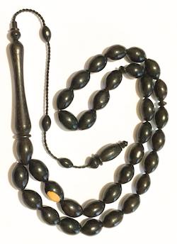 Turkish Islamic Prayer Beads Rare Wood Ebony 12 mm
