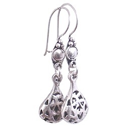 Full Sterling Silver Dangle Drop Earrings 4 cm 3.6 gram