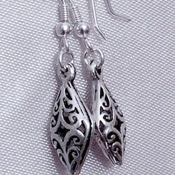 Full Sterling Silver Dangle Earrings 4 cm 3.1 gram