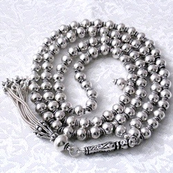 Full Sterling Silver Islamic Prayer Beads 99 Tasbih 69 gram