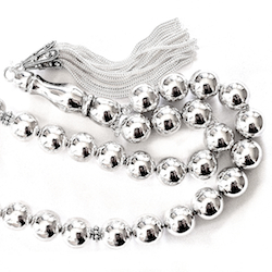 Turkish Full Sterling Silver Islamic Prayer Beads Tasbih 78 gram 38 cm
