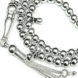 Turkish Islamic Prayer Beads Full Silver 99 Tasbih 5 mm 26 gram