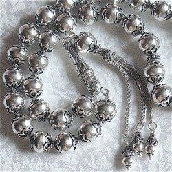 Turkish Sterling Silver Islamic Prayer Beads Tasbih 83 gram 13 inch