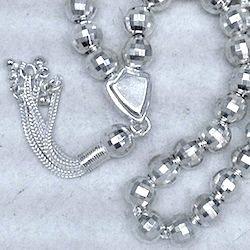 Turkish Full Sterling Silver Islamic Prayer Beads Tasbih 8 mm 27 gram