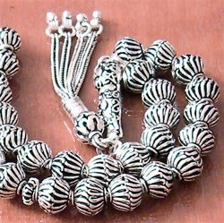 Full Sterling Silver Islamic Prayer Beads Tasbih 40 gram