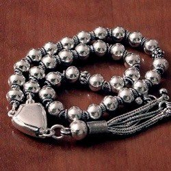 Turkish Full Sterling Silver Islamic Prayer Beads Tasbih 25 gram