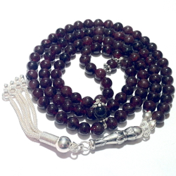 Turkish Islamic Prayer Beads 99 Tasbih Red Garnet 6 mm w/ silver
