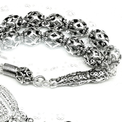 Turkish Full Sterling Silver Islamic Prayer Beads Tasbih 9 mm 42 gram