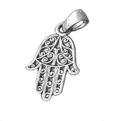 Turkish Sterling Silver Charm Pendant Hamsa 1 inch 2.9 gram