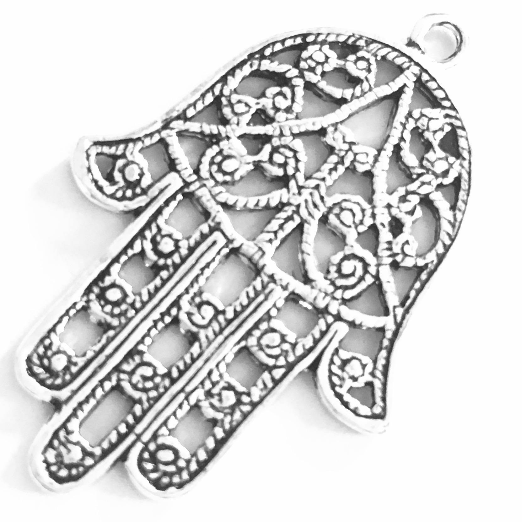 Turkish Sterling Silver Charm Pendant Hamsa 4 cm 6 gram