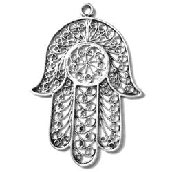 Sterling Silver Large Pendant Hamsa 65 mm 7.7 gram