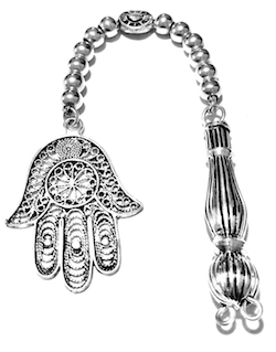 Sterling silver tasbih top with imame and hamsa 14 gram 15 cm