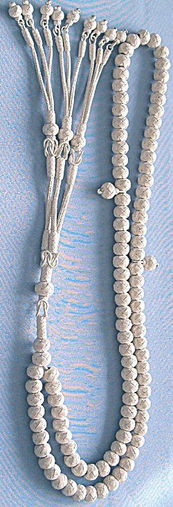 Turkish Pure Silver Mesh Islamic Prayer Beads 99 Tasbih 108 gram full size