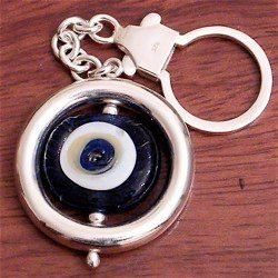 Turkish Sterling Silver Authentic Glass Evil Eye Keychain Keyring